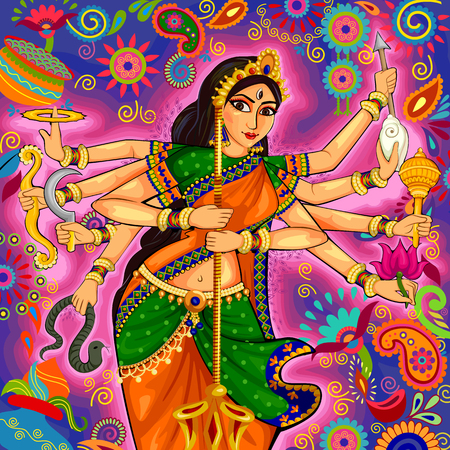 shakti: design of Goddess Durga in floral Durga Puja Dussehra background