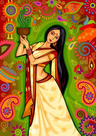 design of Indian woman doing dhunuchi dance of Bengal during Durga Puja Dussehra celebration in India 일러스트