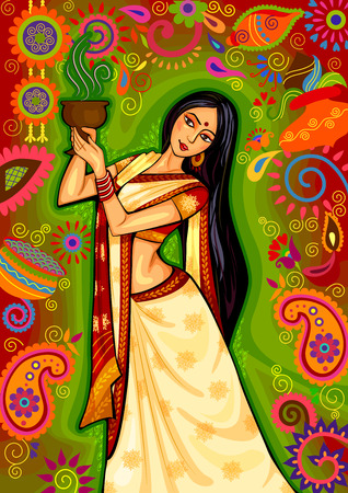 projekt Indian kobieta robi dhunuchi taniec z Bengalu podczas uroczystości Durga Puja Dussehra w Indiach Ilustracje wektorowe