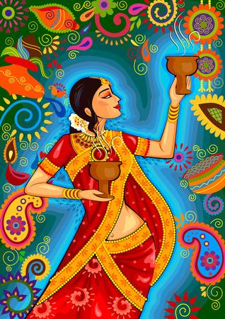 puja: design of Indian woman doing dhunuchi dance of Bengal during Durga Puja Dussehra celebration in India Illustration