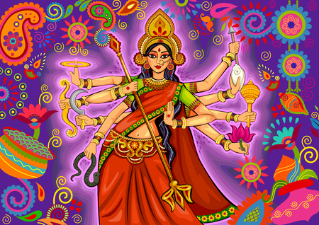design of Goddess Durga in floral Durga Puja Dussehra background