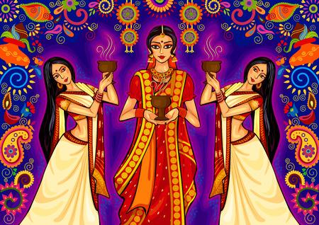 bengal: design of Indian woman doing dhunuchi dance of Bengal during Durga Puja Dussehra celebration in India Illustration