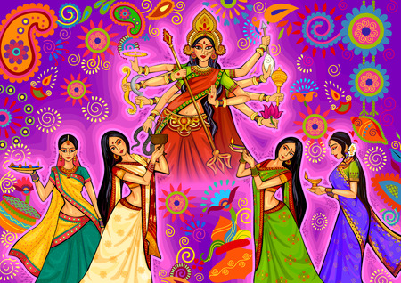 design of Indian woman doing dhunuchi dance of Bengal during Durga Puja Dussehra celebration in India Vettoriali