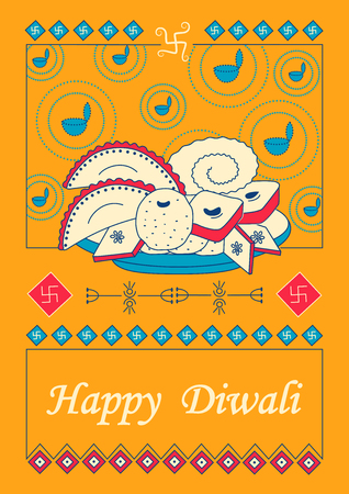 festive occasions: Vector design of Diwali decorated diya with assorted dessert for light festival of India in Indian art style