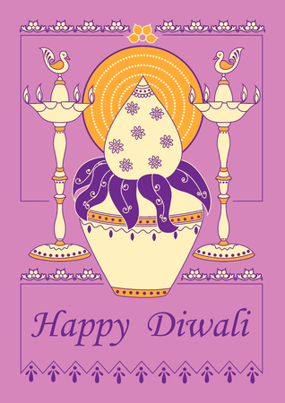 festive occasions: Vector design of Diwali decorated kalash and diya for light festival of India in Indian art style