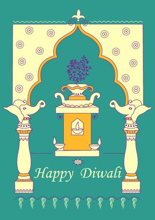 festive occasions: Vector design of Diwali decorated diya on Tulsi plant stand for light festival of India in Indian art style