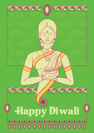 Vector design of India Lady holiding Diwali decorated diya for light festival of India