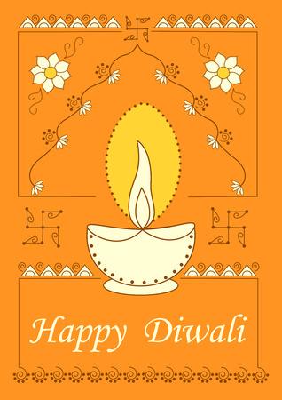 diya: Vector design of Diwali decorated diya for light festival of India in Indian art style Illustration