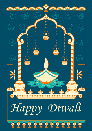 festive occasions: Vector design of Diwali decorated diya for light festival of India in Indian art style Illustration