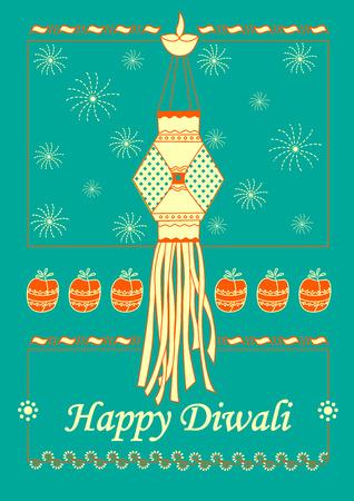 hanging lamp: Vector design of Diwali hanging Lamp for Happy Diwali prayer festival of India in Indian art style Illustration