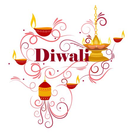 dipawali: Vector design of Happy Diwali typography in calligraphy style for festival of India