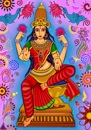 Vector design of Goddess Lakshmi for Happy Diwali prayer festival of India in Indian art style