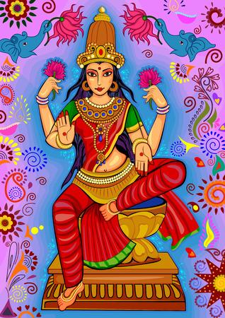 Vector ontwerp van de godin Lakshmi voor Happy Diwali gebed festival van India in de Indische kunststijl Stock Illustratie