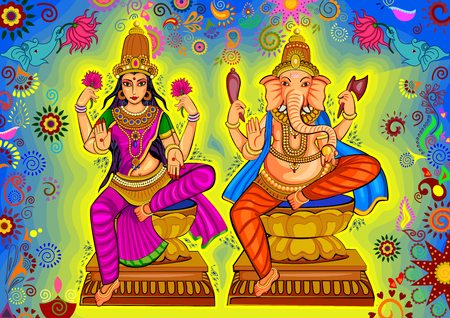 Vector design of Goddess Lakshmi and Lord Ganesha for Happy Diwali prayer festival of India in Indian art style Ilustração