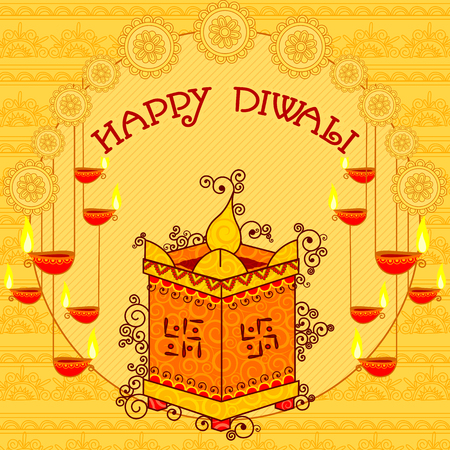 plant stand: Vector design of Diwali decorated diya on Tulsi plant stand for light festival of India in Indian art style
