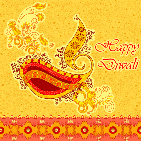 dipawali: Vector design of Diwali decorated diya for light festival of India in Indian art style Illustration