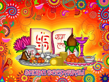 thali: Vector design of Diwali decorated puja thali for light festival of India in Indian art style Illustration