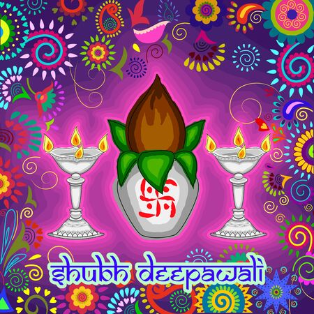 Vector design of Diwali decorated kalash and diya for light festival of India in Indian art style
