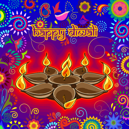 Vector design of Diwali decorated diya for light festival of India in Indian art style Ilustração