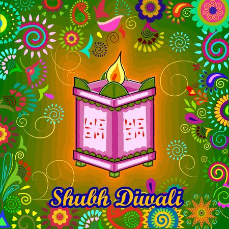 Vector ontwerp van Diwali versierd diya op Tulsi fabriek staan ??voor lichte festival van India in de Indische kunststijl