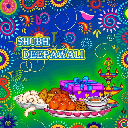Vector design of Diwali decorated puja thali for light festival of India in Indian art style Illustration