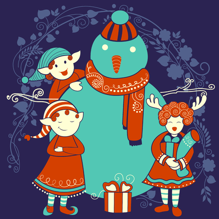 prayer shawl: Vector design of people celebrating festival Merry Christmas holiday background