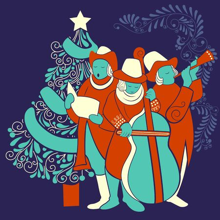 Vector design of people celebrating and singing carol for festival Merry Christmas holiday background Illustration