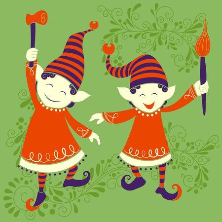 Vectorontwerp van mensen die de vakantieachtergrond vieren van festival Vrolijke Kerstmis