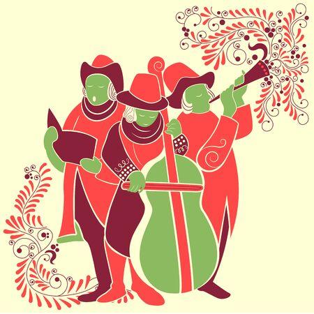 caroling: Vector design of people celebrating and singing carol for festival Merry Christmas holiday background Illustration