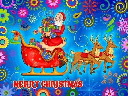 wishing card: Vector design of Santa Sleigh full of gift for Merry Christmas Holiday celebration background Illustration