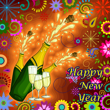 Vector design of colorful design of Happy New Year greeting