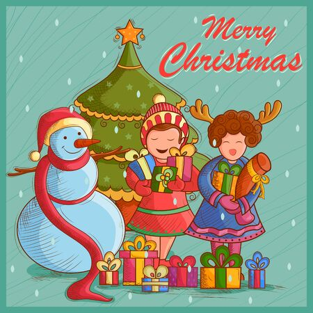 Vector design of Kid with gift and Snowman for festival Merry Christmas holiday background Illustration