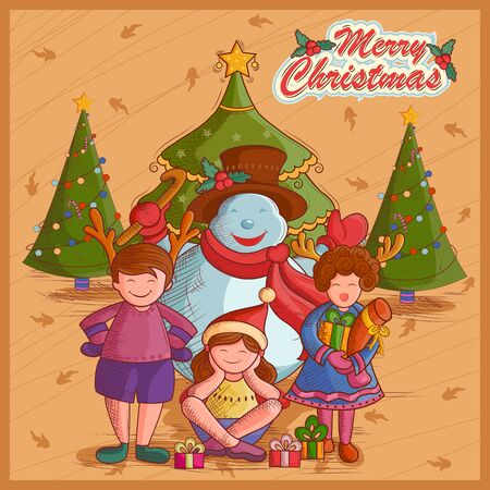prayer shawl: Vector design of Kid with gift and Snowman for festival Merry Christmas holiday background Illustration