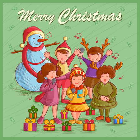 carolers: Vector design of kids singing Carol for festival Merry Christmas holiday background