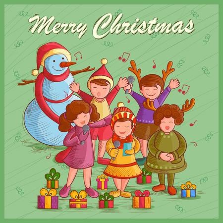prayer shawl: Vector design of kids singing Carol for festival Merry Christmas holiday background