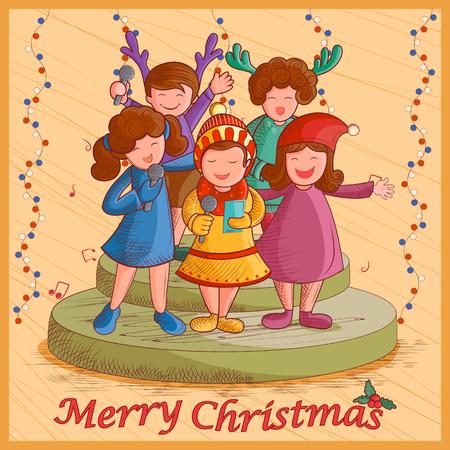 caroling: Vector design of kids singing Carol for festival Merry Christmas holiday background