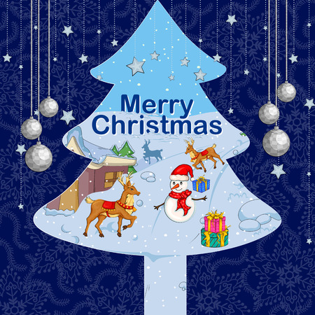 wishing card: Vector design of Merry Christmas holiday background for festival celebration