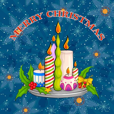 winter cherry: Vector design of Decorated candle for Merry Christmas Holiday celebration background Illustration