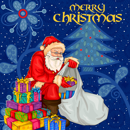 wishing card: Vector design of Santa with gift in Merry Christmas Holiday celebration background