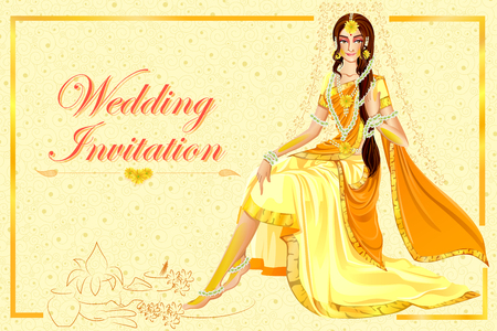 Indian woman bride in Haldi wedding ceremony of India