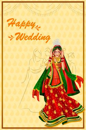 Indian woman bride in Vidai wedding ceremony of India Illustration