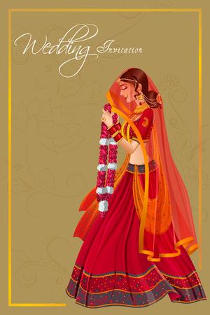 Indiase vrouw bruid in Varmala huwelijksceremonie van India