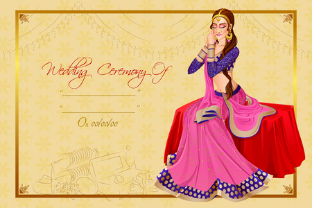 Indian woman bride in wedding ceremony of India Stock Vector - 70678218