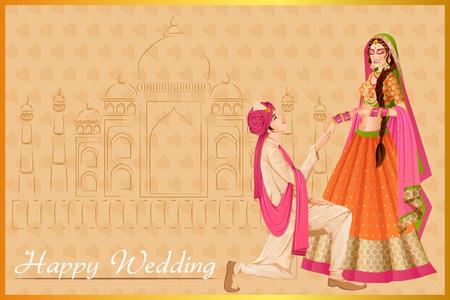 Hombre indio que propone mujer en la ceremonia de boda de la India Foto de archivo - 70678245