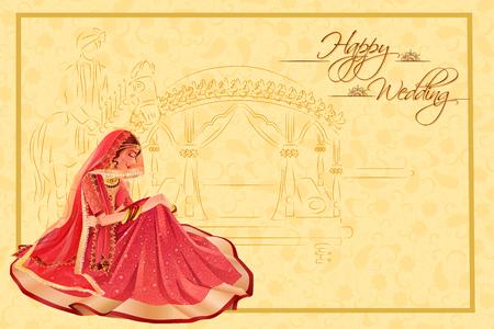 novia Mujer india en la ceremonia de boda de la India Ilustración de vector