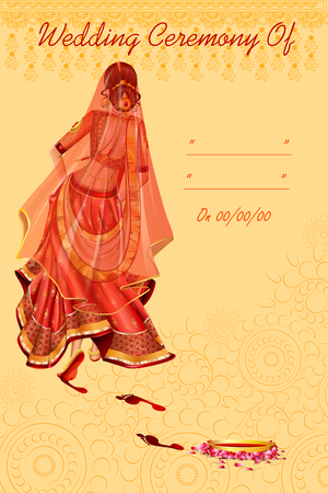Indian woman bride in Griha Pravesh wedding ceremony of India Illustration