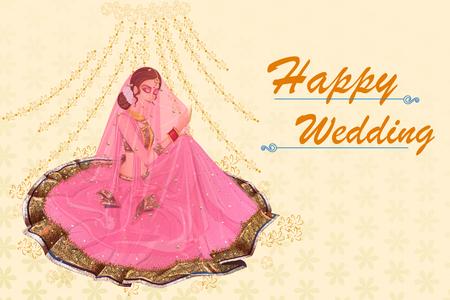 Indian woman bride in Suhag Raat wedding ceremony of India Stock Vector - 70678443