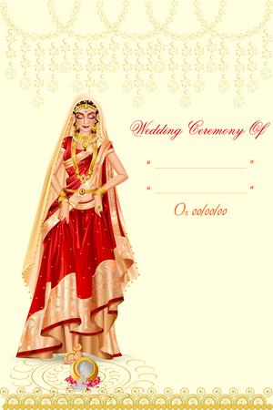 Indian woman bride in Griha Pravesh wedding ceremony of India Stock Vector - 70678453