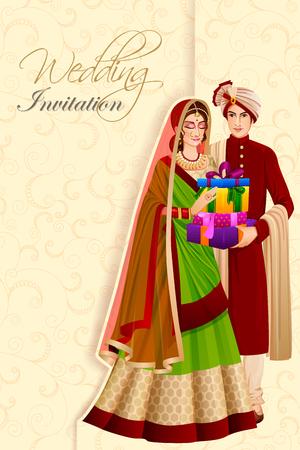 Hombre indio pareja con regalo en la ceremonia de boda de la India