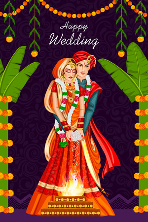Indian couple in wedding ceremony of India 向量圖像